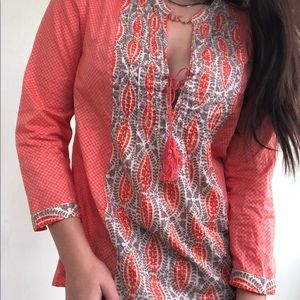 J. Crew Coral and Gray Tunic Size 4